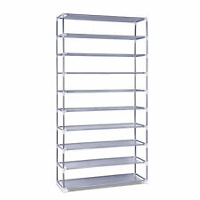 50 Pair 10 Tier Shoe Rack Stackable Storage Holder Metal Steel Cabinet 160cm