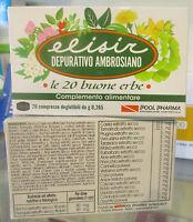Elisir Depurativo Ambrosiano 20 erbe 20cpr Tamarindo Prugna Uva ursina Tarassaco