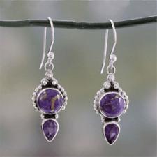 925 Silver Natural Purple Agate Wedding Drop Dangle Hoop Earring Vintage Jewelry
