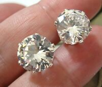 Beautiful Solid Sterling Silver Large Clear CZ Crystal 11 mm Stud EARRINGS NEW