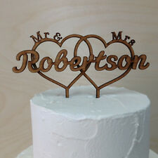 Personalised Mr & Mrs Wedding Cake Topper, Double Love Heart with surname Rustic