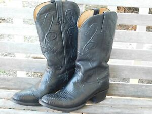 Lucchese Men's Cowboy Boots 8.5D Beautiful Caiman n Leather Black