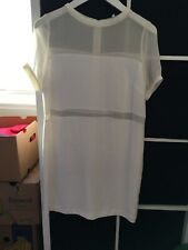 Next Premium Size 14 Ivory Sheer Short Sleeve Knee Length Shift Dress J10