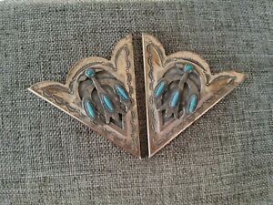Vintage Collar Tips Petit Point Turquoise Western Wear Men's Accessory