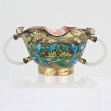 Estate Enameled Gilt Metal Chinese Bowl With White Jade Or Jadeite Handles - VR