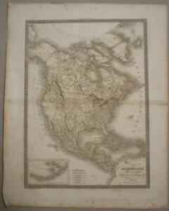 NORTH AMERICA 1830 PIERRE LAPIE LARGE ANTIQUE ORIGINAL COPPER ENGRAVED MAP
