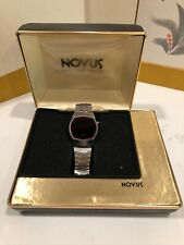 VINTAGE NOVUS BRUSHED STAINLESS STEEL RED LED MENS WATCH ORIGINAL BOX