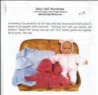 "15"" Baby Doll Wardrobe Clothing Knitting Instruction Pattern KNOON 7pcs to knit"