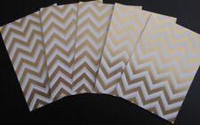 Cristina Re Luxury Designer Paper 250gsm x 5  *GOLD /WHITE CHEVRON* 15 x 10.5cm