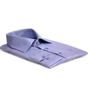 Men's Oxford Style High Collar Blue Slim Fit Cotton Shirt Size XL-3XL
