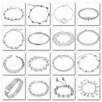 "*UK Shop* 925 SILVER PLT BRACELET ANKLET 8"" WOMENS GIFT LADIES TENNIS CUFF CHARM"