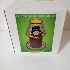 Vintage A.C. Moore Ceramic Snowman Shade And Plate Candle Topper Holder Set