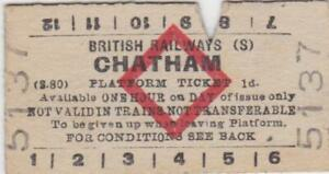British Railways Red Diamond Platform Ticket CHATHAM 5137