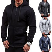 Men Casual Slim Fit Front Hoodies Sweatshirt Pockets Zipper Hooded Coat Jacket