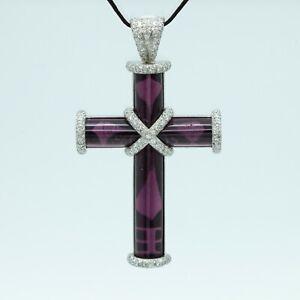 Theo Fennell 18K White Gold Diamond Pink Tourmaline Cross Pendant (17342)