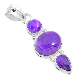 9.18cts Natural Purple Amethyst 925 Sterling Silver Pendant Jewelry T34825