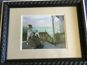 """A Print Titled """"In a Villa at the Seaside"""", 1874 by Berthe Morisot  Framed"""