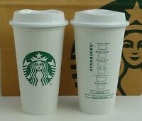Starbucks Becher Reusable Cup weiß mit grünem Logo Set 2 Stück 16oz NEU