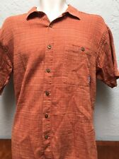 Patagonia Mens Medium M Orange Stripes Short Sleeve Organic Cotton Button Shirt