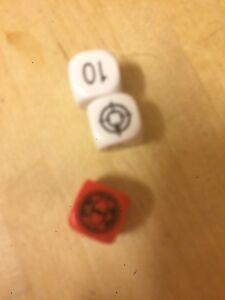 Gw 40k - white & Red 3 Dice Rare Vintage Board Game Spares Games Workshop