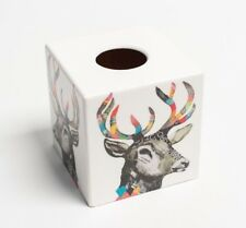 Rainbow Stag Tissue Box Cover Holder  wooden handmade decoupaged uk