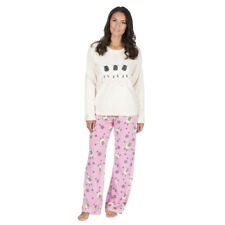 Ladies Novelty Soft Warm Micro Fleece Embroidered Animal Pyjama Twosie 8-22