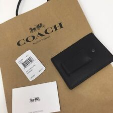 Coach Money Clip Card Case Black Calf Leather F75459 New Mens Wallet New