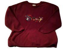 WALT DISNEY WORLD Women's Fleece Top Burgundy Embroidered Adult Size Large *EUC*
