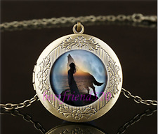 Wolf Spirit Photo Cabochon Glass Brass Locket Pendant Necklace