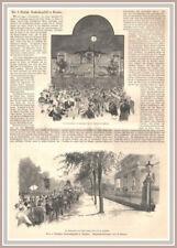 """Kegeln """"Das 6. Deutsche Bundeskegelfest in Dresden"""" Original Holzstich von 1894"""