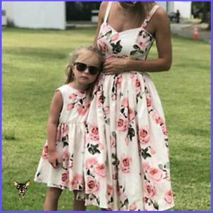 Mutter und Tochter Ärmelloses Blumenmuster Eltern-Kind-Kleid Familie passende