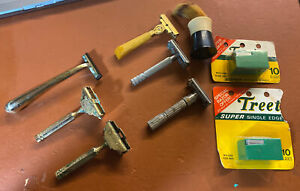 Lot Of 6 VINTAGE Razors GILLETTE FATBOY GEM Schick Injector Plus Extras