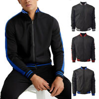 Men's Maximos Tony Stripe Trim Windbreaker Zip up Bomber Polyester Track Jacket