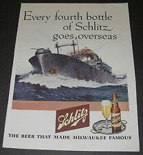 Print Ad 1945 BREWERY Schlitz WW ll ART Charles Kemp Battleship Every 4th bottle