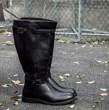New Men's Leather Boots Knight Riding Military Boots Equestrian Mid Calf Shoes