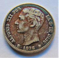 1876DE-M Spain Alfonso XII, Silver 1 Peseta grading aBout VERY FINE.