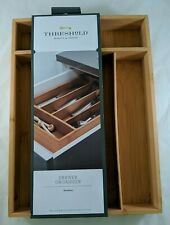 New listing Bamboo Drawer Organizer Tray 5 Divided Compartments Flatware Drawer Threshold