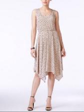 NY Collection Women's Tan Black Polka-Dot A-Line Handkerchief-Hem Dress Sz: M