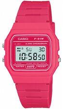 Casio Ladies Digital Watch With Pink Resin Strap F-91w