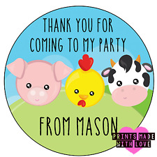 Personalised 24 farm cow pig chick party bag stickers sweet cone labels cpc