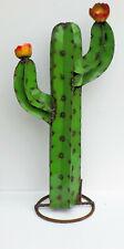 "METAL YARD ART SAGUARO CACTUS WITH FLOWERS SCULPTURE 25"" TALL GREEN"