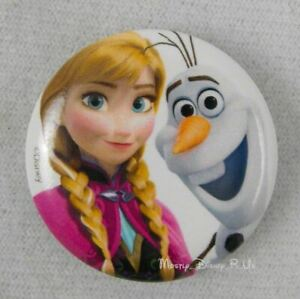 """New Disney Frozen Princess Anna And Olaf 1.25"""" Button Pin Back Lanyard Charm"""