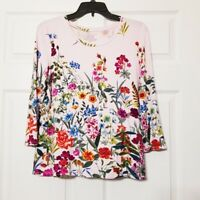 Investments Petites Essentials Womens Shirt~ Sz PM ~ Pink Floral ~ 3/4 Sleeve