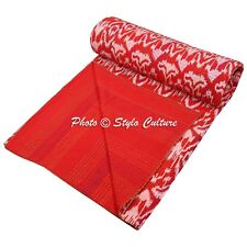 Indian Bed Cover Queen Cotton Printed Quilt Blanket Ikat Kantha Quilts