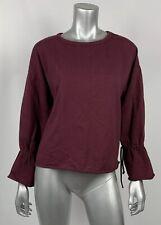 Zara Trafaluc Womens Pullover S Maroon Scoop Neck Bell Slv Loose Fit Sweatshirt