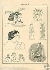 Captive Captif Arameans Warrior Iraq King Sargon Ethiopia GRAVURE OLD PRINT 1884