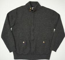 CC Filson Wool Lightweight Zip Cardigan Charcoal Button Collar Pockets Sweater