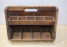 Antique wood tool box 2 tier nail caddy primitive AAFA carpenter handle