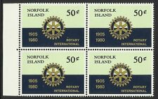 NORFOLK IS 1980 ROTARY INTERNATIONAL BLOCK OF 4 MNH