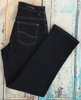 LEE Relaxed Fit Jeans Women's Sz 4 Short Stretch Straight Leg Blue Denim Cotton